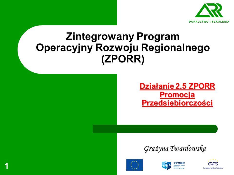 1 Zintegrowany Program Operacyjny Rozwoju Regionalnego (ZPORR) Grażyna Twardowska Działanie 2.5 ZPORR Promocja Przedsiębiorczości