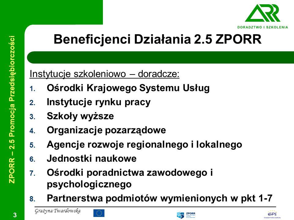 ZPORR – 2.5 Promocja Przedsiębiorczości ____________________________________________________________________________ Grażyna Twardowska 4 Projekty przyjęte do finansowania I termin: - Eurocentrum Innowacji i Przedsiębiorczości w Ostrowie Wlkp.