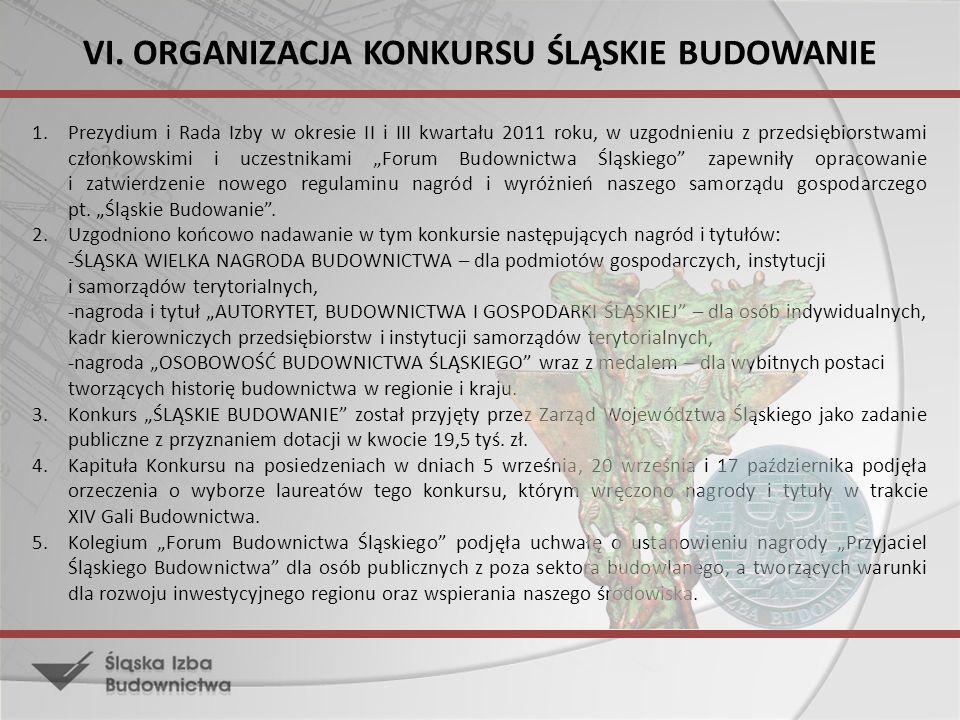 VI. ORGANIZACJA KONKURSU ŚLĄSKIE BUDOWANIE 1.Prezydium i Rada Izby w okresie II i III kwartału 2011 roku, w uzgodnieniu z przedsiębiorstwami członkows