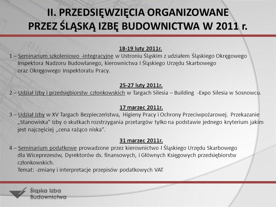 II. PRZEDSIĘWZIĘCIA ORGANIZOWANE PRZEZ ŚLĄSKĄ IZBĘ BUDOWNICTWA W 2011 r. 18-19 luty 2011r. 1 – Seminarium szkoleniowo -integracyjne w Ustroniu Śląskim