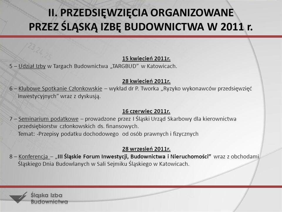II. PRZEDSIĘWZIĘCIA ORGANIZOWANE PRZEZ ŚLĄSKĄ IZBĘ BUDOWNICTWA W 2011 r. 15 kwiecień 2011r. 5 – Udział Izby w Targach Budownictwa TARGBUD w Katowicach