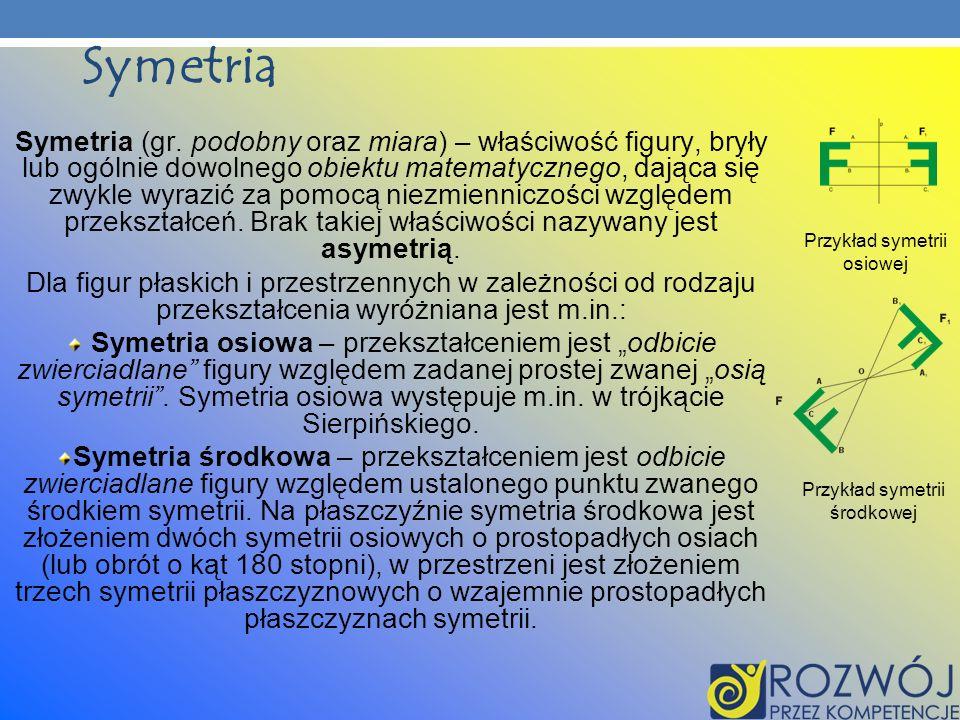 Symetria Symetria (gr. podobny oraz miara) – właściwość figury, bryły lub ogólnie dowolnego obiektu matematycznego, dająca się zwykle wyrazić za pomoc