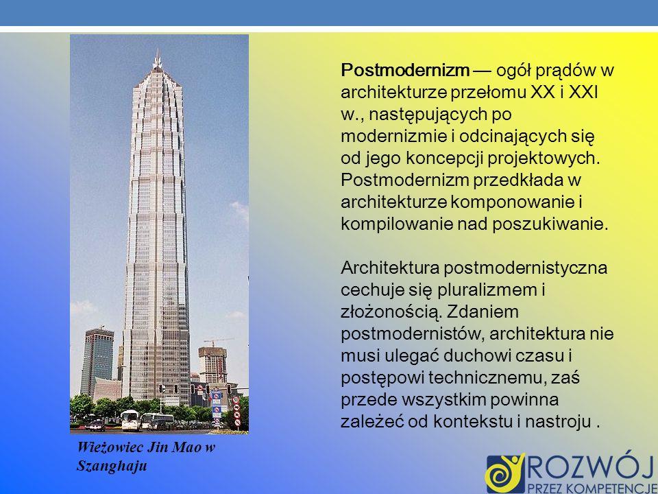 Postmodernizm ogół prądów w architekturze przełomu XX i XXI w., następujących po modernizmie i odcinających się od jego koncepcji projektowych. Postmo