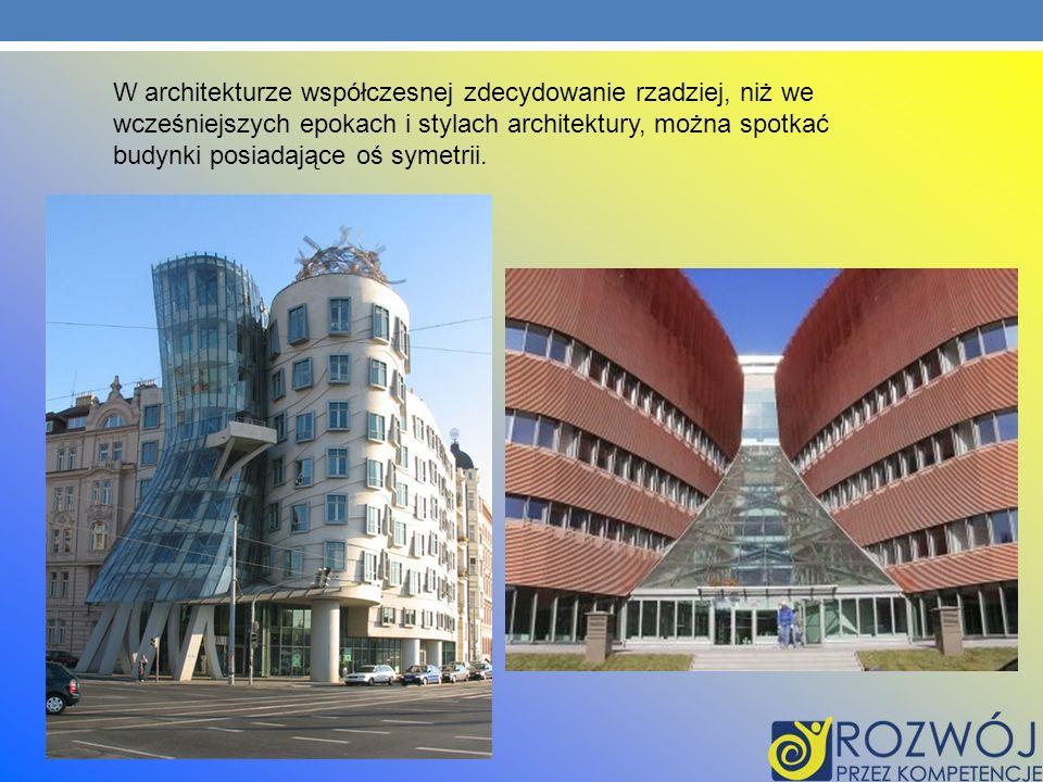 W architekturze współczesnej zdecydowanie rzadziej, niż we wcześniejszych epokach i stylach architektury, można spotkać budynki posiadające oś symetri