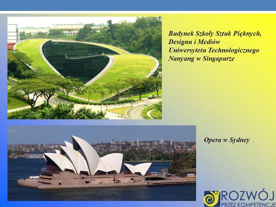 Budynek Szkoły Sztuk Pięknych, Designu i Mediów Uniwersytetu Technologicznego Nanyang w Singapurze Opera w Sydney