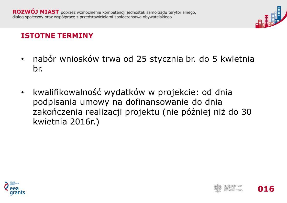 016 ISTOTNE TERMINY nabór wniosków trwa od 25 stycznia br.