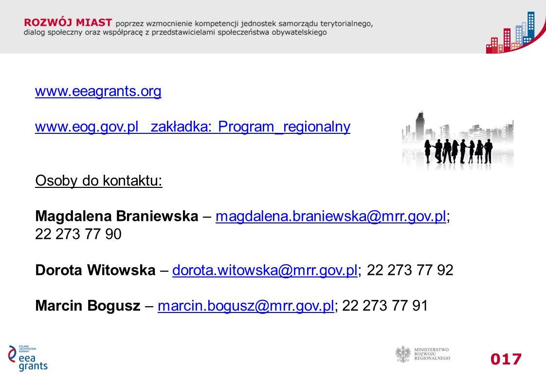 017 www.eeagrants.org www.eog.gov.pl zakładka: Program_regionalny Osoby do kontaktu: Magdalena Braniewska – magdalena.braniewska@mrr.gov.pl;magdalena.braniewska@mrr.gov.pl 22 273 77 90 Dorota Witowska – dorota.witowska@mrr.gov.pl; 22 273 77 92dorota.witowska@mrr.gov.pl Marcin Bogusz – marcin.bogusz@mrr.gov.pl; 22 273 77 91marcin.bogusz@mrr.gov.pl