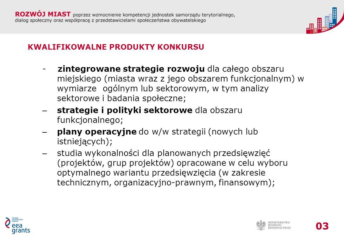 03 KWALIFIKOWALNE PRODUKTY KONKURSU - zintegrowane strategie rozwoju dla całego obszaru miejskiego (miasta wraz z jego obszarem funkcjonalnym) w wymiarze ogólnym lub sektorowym, w tym analizy sektorowe i badania społeczne; – strategie i polityki sektorowe dla obszaru funkcjonalnego; – plany operacyjne do w/w strategii (nowych lub istniejących); – studia wykonalności dla planowanych przedsięwzięć (projektów, grup projektów) opracowane w celu wyboru optymalnego wariantu przedsięwzięcia (w zakresie technicznym, organizacyjno-prawnym, finansowym);