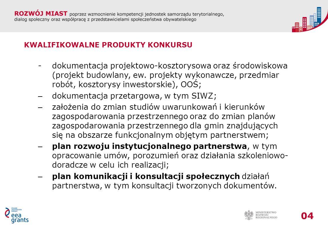 04 KWALIFIKOWALNE PRODUKTY KONKURSU - dokumentacja projektowo-kosztorysowa oraz środowiskowa (projekt budowlany, ew.