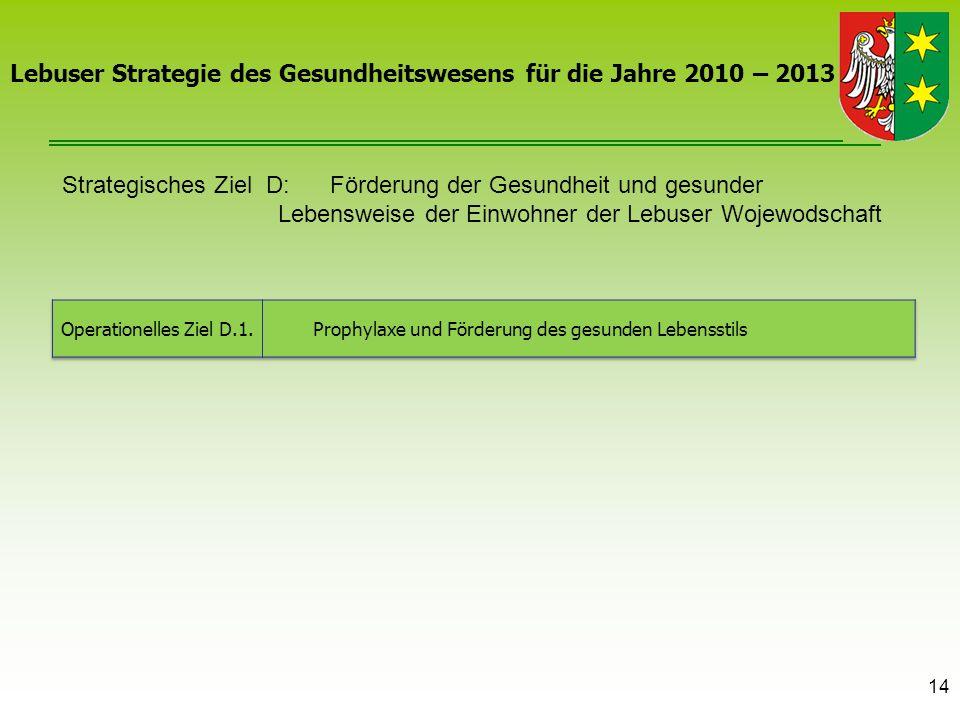 Strategisches Ziel D: Förderung der Gesundheit und gesunder Lebensweise der Einwohner der Lebuser Wojewodschaft 14 Lebuser Strategie des Gesundheitswe