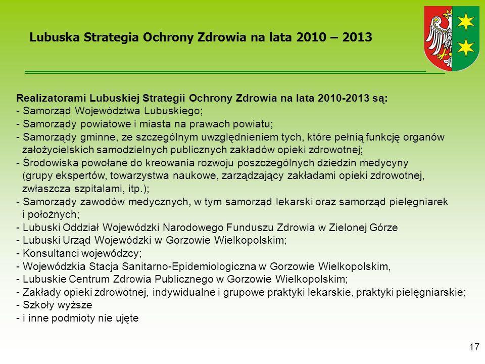 17 Realizatorami Lubuskiej Strategii Ochrony Zdrowia na lata 2010-2013 są: - Samorząd Województwa Lubuskiego; - Samorządy powiatowe i miasta na prawac