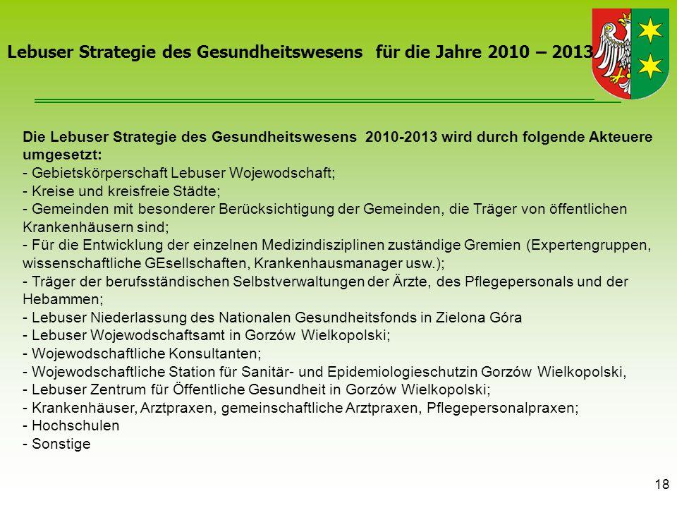 18 Die Lebuser Strategie des Gesundheitswesens 2010-2013 wird durch folgende Akteuere umgesetzt: - Gebietskörperschaft Lebuser Wojewodschaft; - Kreise