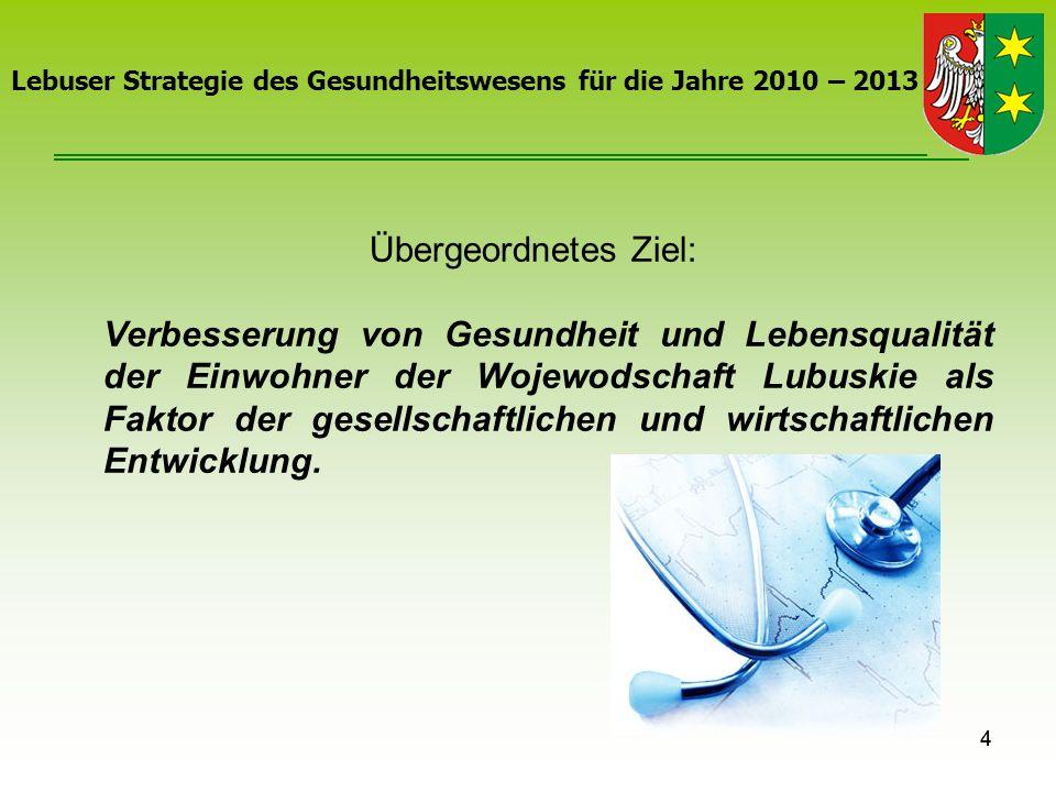 4 Lebuser Strategie des Gesundheitswesens für die Jahre 2010 – 2013 Übergeordnetes Ziel: Verbesserung von Gesundheit und Lebensqualität der Einwohner
