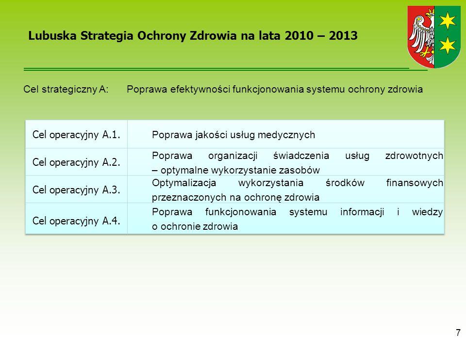 7 Lubuska Strategia Ochrony Zdrowia na lata 2010 – 2013 Cel strategiczny A: Poprawa efektywności funkcjonowania systemu ochrony zdrowia