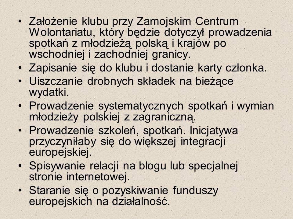 Założenie klubu przy Zamojskim Centrum Wolontariatu, który będzie dotyczył prowadzenia spotkań z młodzieżą polską i krajów po wschodniej i zachodniej