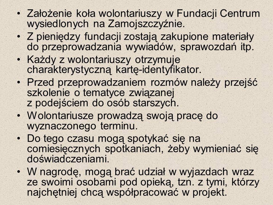 Założenie koła wolontariuszy w Fundacji Centrum wysiedlonych na Zamojszczyźnie. Z pieniędzy fundacji zostają zakupione materiały do przeprowadzania wy