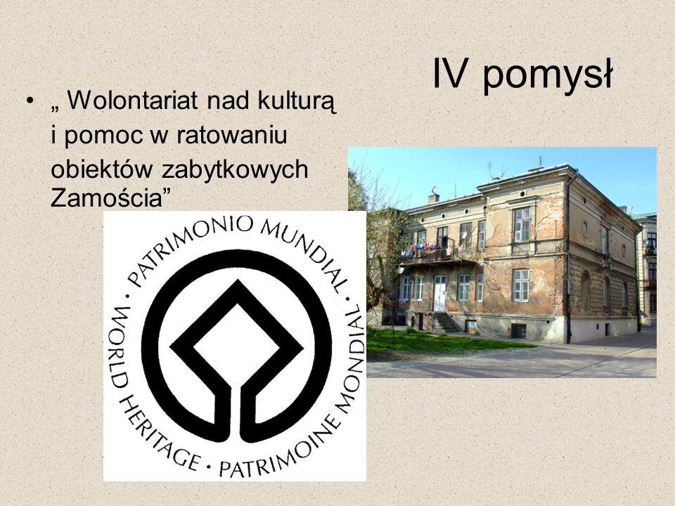 Wolontariat nad kulturą i pomoc w ratowaniu obiektów zabytkowych Zamościa IV pomysł