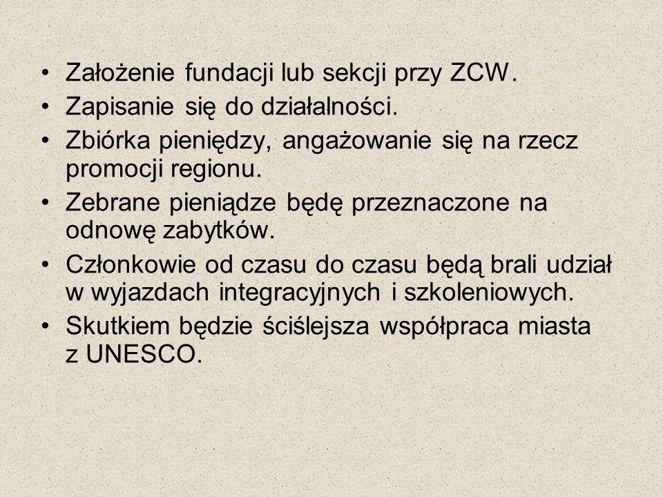 Założenie fundacji lub sekcji przy ZCW. Zapisanie się do działalności. Zbiórka pieniędzy, angażowanie się na rzecz promocji regionu. Zebrane pieniądze