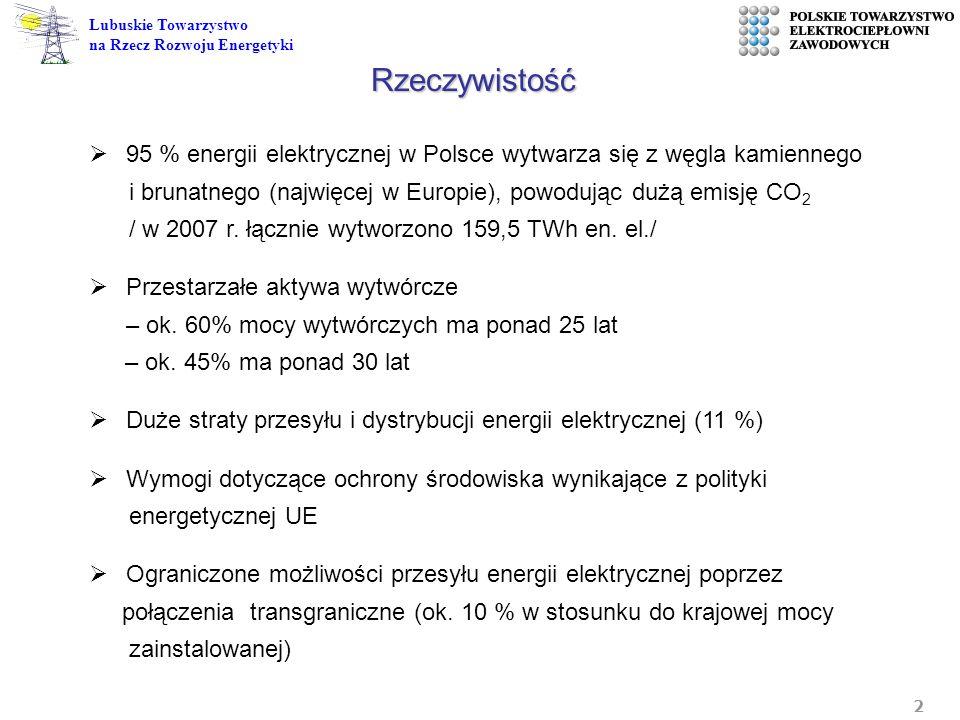 2 Lubuskie Towarzystwo na Rzecz Rozwoju Energetyki 95 % energii elektrycznej w Polsce wytwarza się z węgla kamiennego i brunatnego (najwięcej w Europi