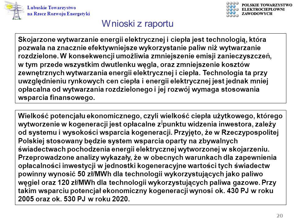 20 Lubuskie Towarzystwo na Rzecz Rozwoju Energetyki l Skojarzone wytwarzanie energii elektrycznej i ciepła jest technologią, która pozwala na znacznie