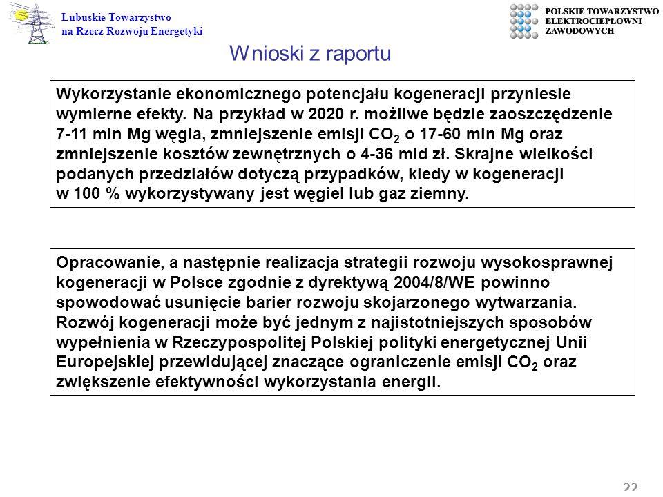22 Lubuskie Towarzystwo na Rzecz Rozwoju Energetyki Wykorzystanie ekonomicznego potencjału kogeneracji przyniesie wymierne efekty. Na przykład w 2020