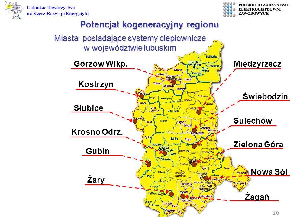 26 Lubuskie Towarzystwo na Rzecz Rozwoju Energetyki Gubin Miasta posiadające systemy ciepłownicze w województwie lubuskim Nowa Sól Sulechów Żary Gorzó