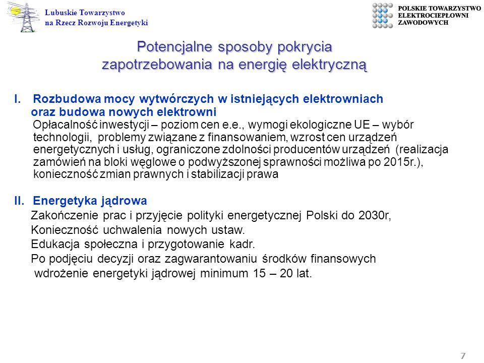 7 Lubuskie Towarzystwo na Rzecz Rozwoju Energetyki I.Rozbudowa mocy wytwórczych w istniejących elektrowniach oraz budowa nowych elektrowni Opłacalność