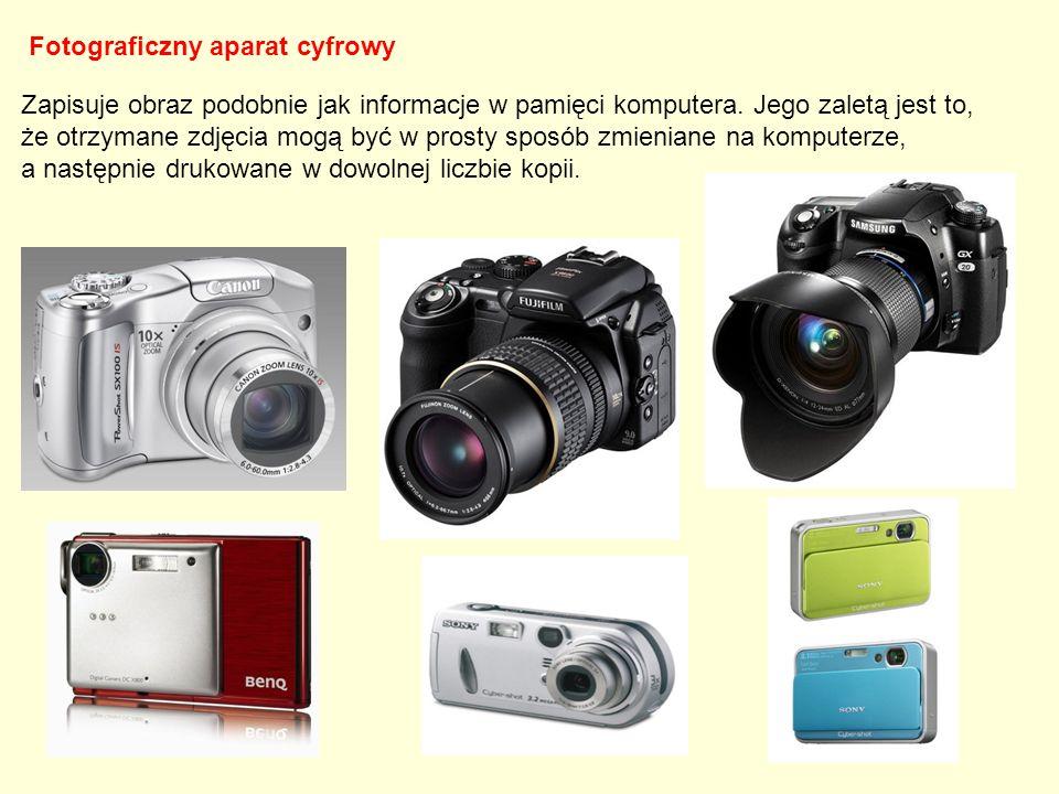 Fotograficzny aparat cyfrowy Zapisuje obraz podobnie jak informacje w pamięci komputera. Jego zaletą jest to, że otrzymane zdjęcia mogą być w prosty s