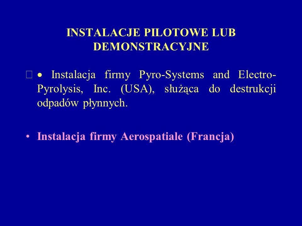 INSTALACJE PILOTOWE LUB DEMONSTRACYJNE Instalacja firmy Pyro-Systems and Electro- Pyrolysis, Inc. (USA), służąca do destrukcji odpadów płynnych. Insta