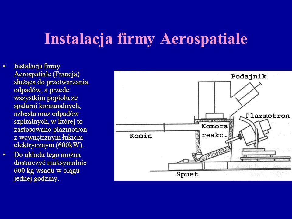 Instalacja firmy Aerospatiale Instalacja firmy Aerospatiale (Francja) służąca do przetwarzania odpadów, a przede wszystkim popiołu ze spalarni komunal