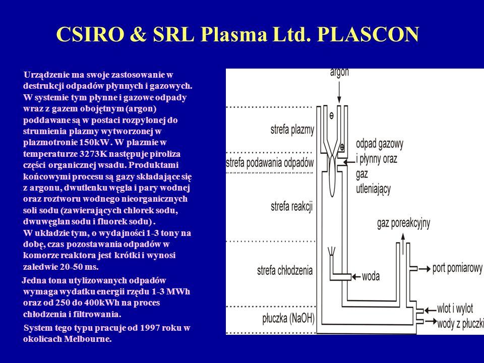 CSIRO & SRL Plasma Ltd. PLASCON Urządzenie ma swoje zastosowanie w destrukcji odpadów płynnych i gazowych. W systemie tym płynne i gazowe odpady wraz