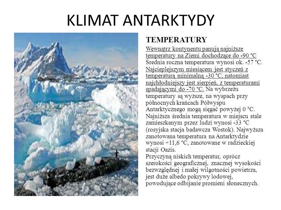 KLIMAT ANTARKTYDY TEMPERATURY Wewnątrz kontynentu panują najniższe temperatury na Ziemi dochodzące do -90 °C Średnia roczna temperatura wynosi ok. -57