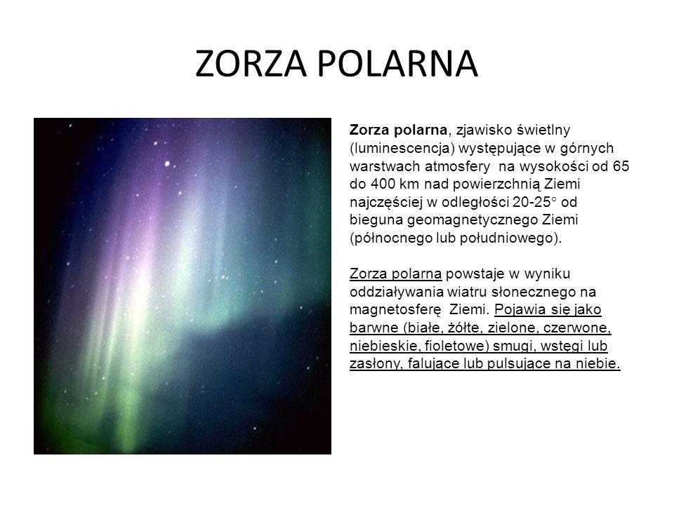 ZORZA POLARNA Zorza polarna, zjawisko świetlny (luminescencja) występujące w górnych warstwach atmosfery na wysokości od 65 do 400 km nad powierzchnią