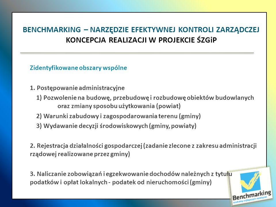 Zidentyfikowane obszary wspólne 1. Postępowanie administracyjne 1) Pozwolenie na budowę, przebudowę i rozbudowę obiektów budowlanych oraz zmiany sposo