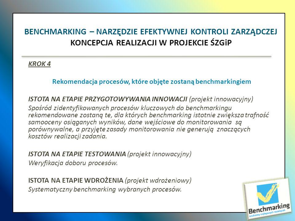 KROK 4 Rekomendacja procesów, które objęte zostaną benchmarkingiem ISTOTA NA ETAPIE PRZYGOTOWYWANIA INNOWACJI (projekt innowacyjny) Spośród zidentyfik