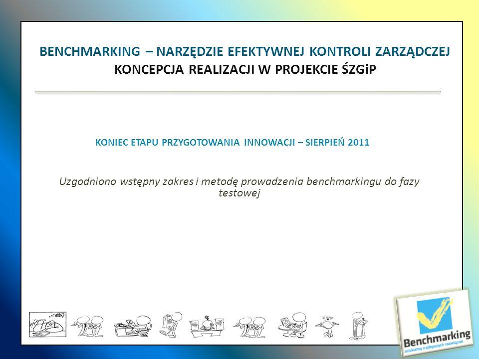 KONIEC ETAPU PRZYGOTOWANIA INNOWACJI – SIERPIEŃ 2011 Uzgodniono wstępny zakres i metodę prowadzenia benchmarkingu do fazy testowej BENCHMARKING – NARZ
