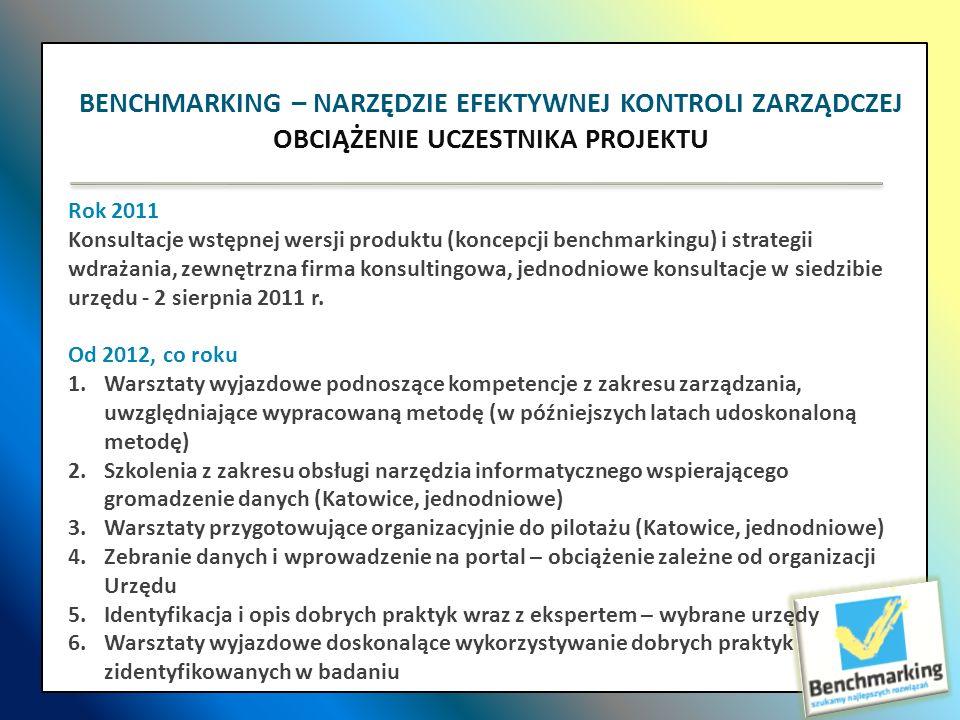 BENCHMARKING – NARZĘDZIE EFEKTYWNEJ KONTROLI ZARZĄDCZEJ OBCIĄŻENIE UCZESTNIKA PROJEKTU Rok 2011 Konsultacje wstępnej wersji produktu (koncepcji benchm