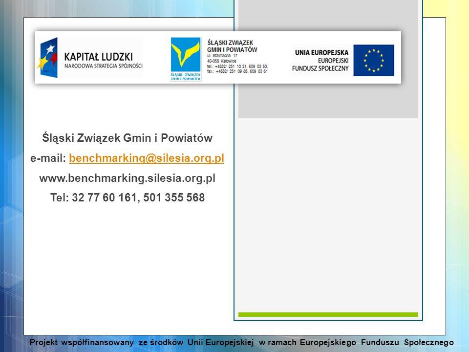 Śląski Związek Gmin i Powiatów e-mail: benchmarking@silesia.org.plbenchmarking@silesia.org.pl www.benchmarking.silesia.org.pl Tel: 32 77 60 161, 501 3