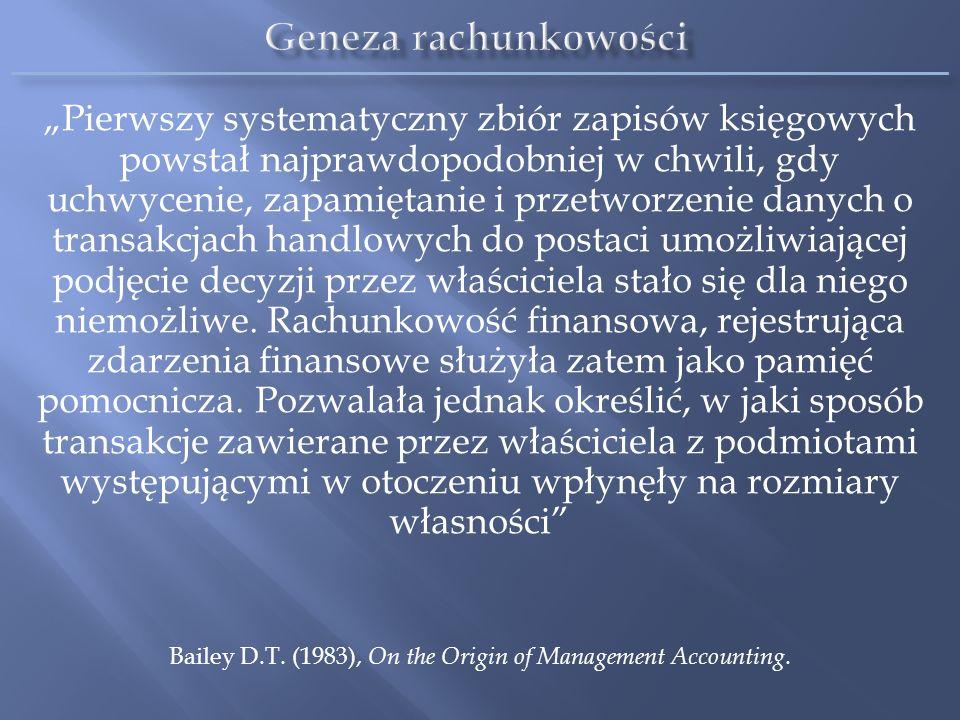 Rachunkowość w przedsiębiorstwach jest całościowym systemem złożonym z podsystemów (rachunkowości finansowej, rachunkowości zarządczej, rachunkowości podatkowej) wyróżnionych według jednolitego kryterium odbiorców informacji Dekompozycja systemu rachunkowości na podsystemy nie przeczy jego jedności (nie mylić z jednorodnością) Zgodnie z teorią systemów (według współczesnego podejścia – zwłaszcza koncepcji systemów społecznych N.Luhmanna) taki system rachunkowości zmienia się (różnicują się jego elementy), staje się coraz bardziej złożony i przybiera nowe formy organizacyjne w odpowiedzi na zmiany zachodzące w otoczeniu Lektura obowiązkowa: Sobańska I., Jedność systemu rachunkowości, Zeszyty Teoretyczne Rachunkowości, 66(122), SKwP, Warszawa 2012, s.