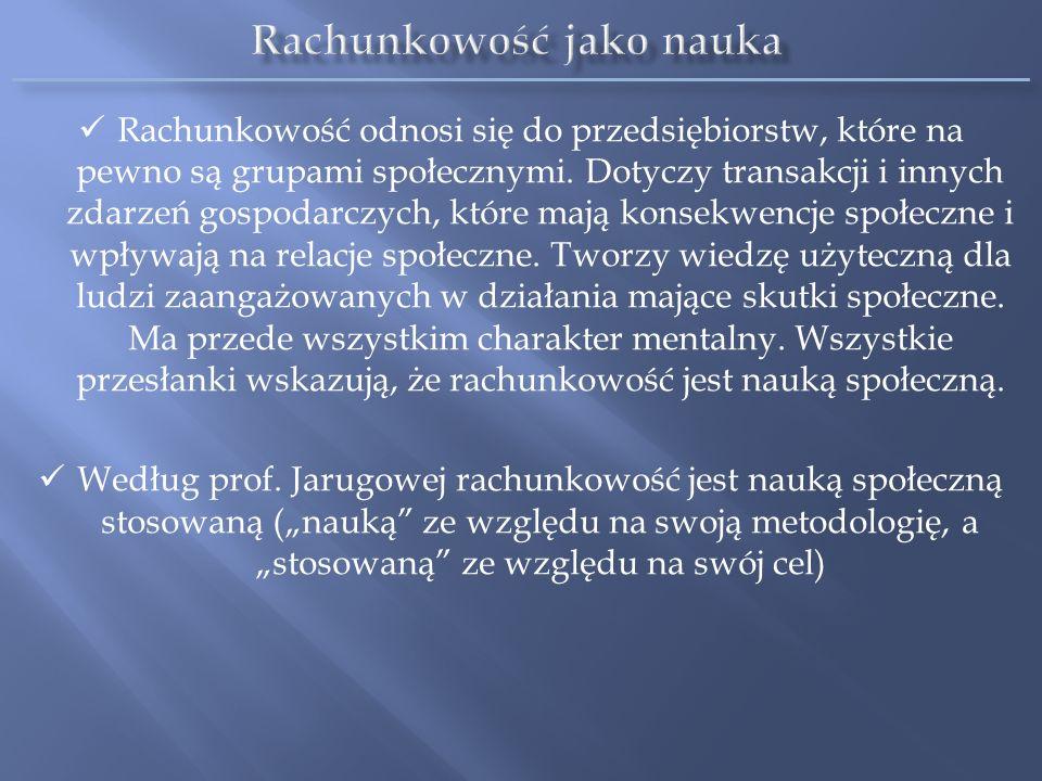 grupa podstawowa: ogólna teoria rachunkowości rachunkowość szczegółowa grupa działów z pogranicza nauki rachunkowości i innych dyscyplin Nauka rachunkowości obejmuje następujące działy Źródło: Szymański K.G., Problemy metodologiczne nauki rachunkowości, SGPiS, Warszawa 1988.
