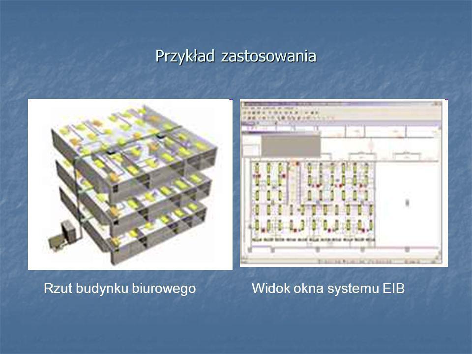 Przykład zastosowania Rzut budynku biurowegoWidok okna systemu EIB