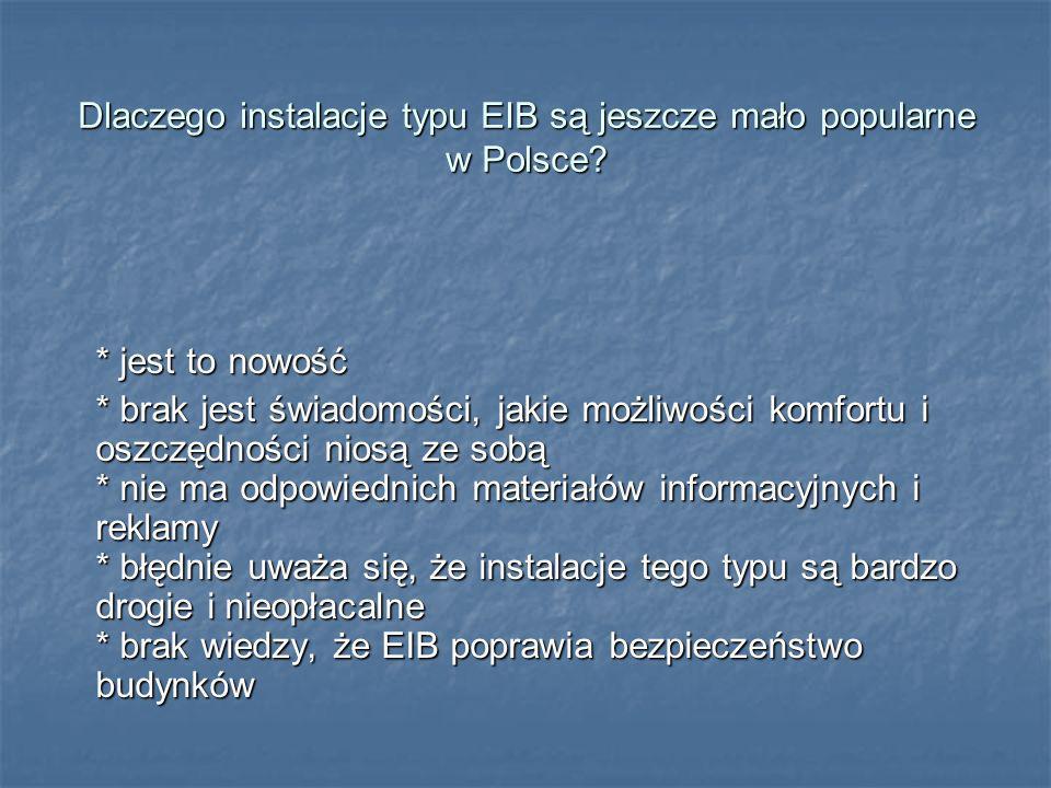 Dlaczego instalacje typu EIB są jeszcze mało popularne w Polsce? * jest to nowość * brak jest świadomości, jakie możliwości komfortu i oszczędności ni