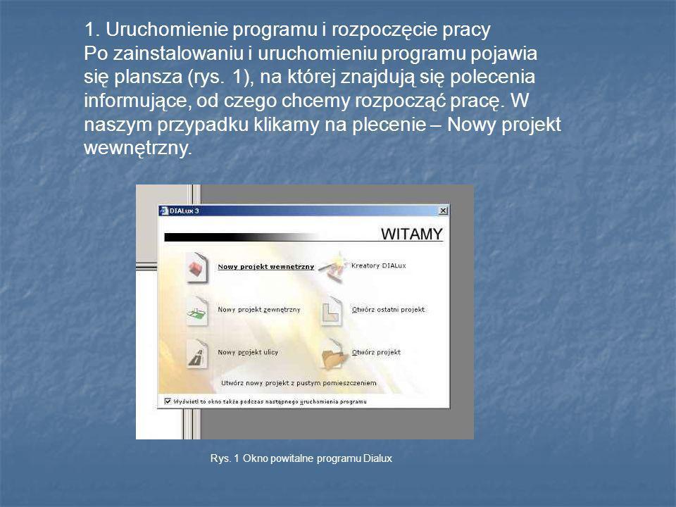 1. Uruchomienie programu i rozpoczęcie pracy Po zainstalowaniu i uruchomieniu programu pojawia się plansza (rys. 1), na której znajdują się polecenia