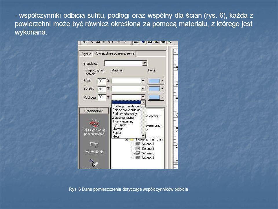 - współczynniki odbicia sufitu, podłogi oraz wspólny dla ścian (rys. 6), każda z powierzchni może być również określona za pomocą materiału, z którego