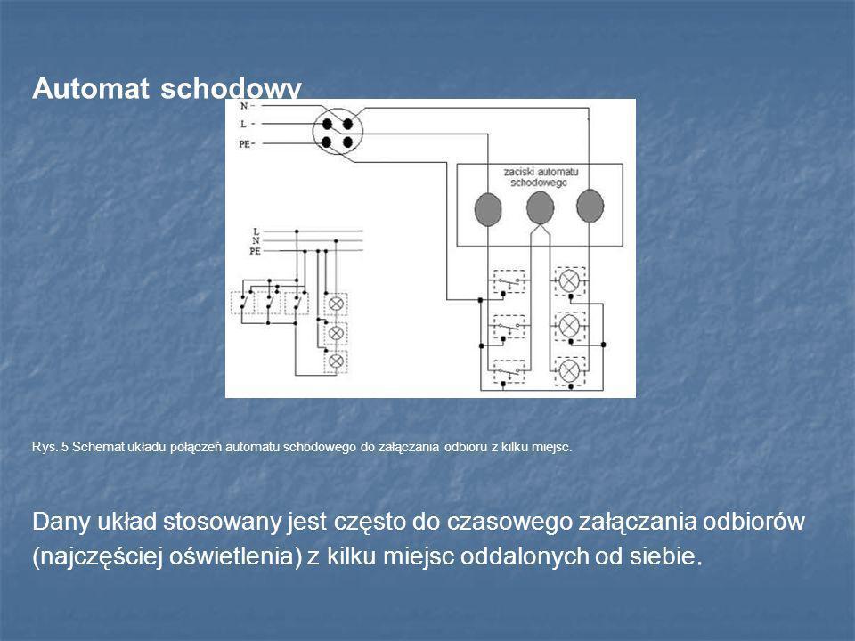 Automat schodowy Rys. 5 Schemat układu połączeń automatu schodowego do załączania odbioru z kilku miejsc. Dany układ stosowany jest często do czasoweg