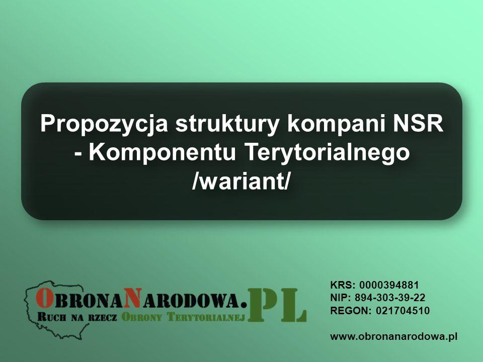 KRS: 0000394881 NIP: 894-303-39-22 REGON: 021704510 www.obronanarodowa.pl Propozycja struktury kompani NSR - Komponentu Terytorialnego /wariant/