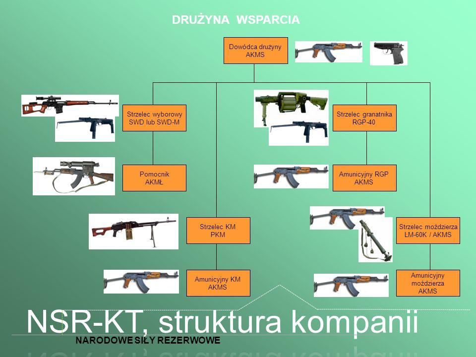 DRUŻYNA WSPARCIA Dowódca drużyny AKMS Strzelec wyborowy SWD lub SWD-M Pomocnik AKMŁ Amunicyjny KM AKMS Strzelec KM PKM Strzelec granatnika RGP-40 Strz