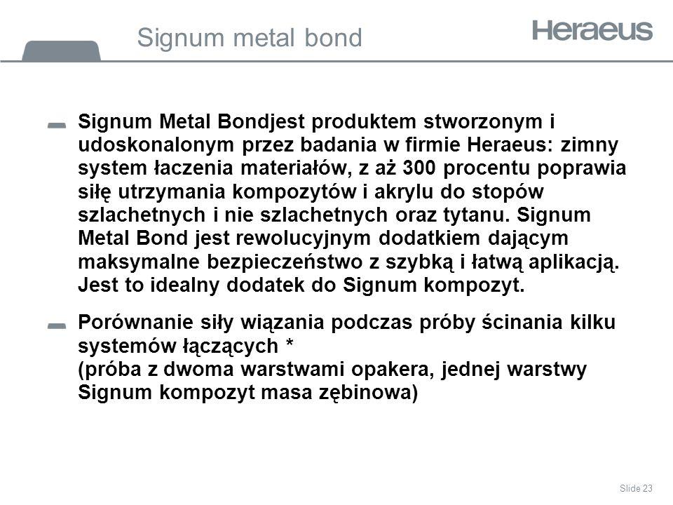 Signum metal bond Signum Metal Bondjest produktem stworzonym i udoskonalonym przez badania w firmie Heraeus: zimny system łaczenia materiałów, z aż 300 procentu poprawia siłę utrzymania kompozytów i akrylu do stopów szlachetnych i nie szlachetnych oraz tytanu.