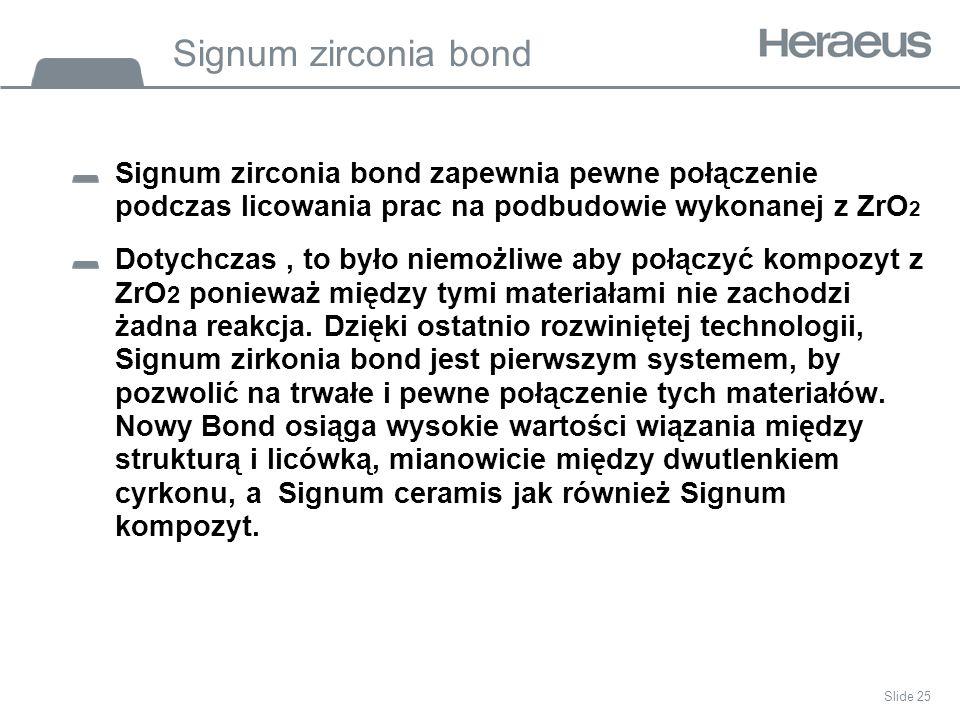 Signum zirconia bond Signum zirconia bond zapewnia pewne połączenie podczas licowania prac na podbudowie wykonanej z ZrO 2 Dotychczas, to było niemożliwe aby połączyć kompozyt z ZrO 2 ponieważ między tymi materiałami nie zachodzi żadna reakcja.