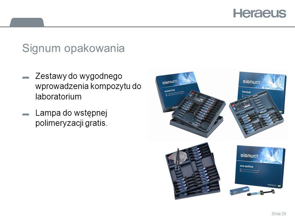 Slide 29 Signum opakowania Zestawy do wygodnego wprowadzenia kompozytu do laboratorium Lampa do wstępnej polimeryzacji gratis.